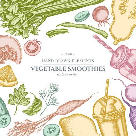 Design with pastel lemons, broccoli, radish, green beans, cherry tomatoes, beet, greenery, carrot, basil, pumpkin, smoothie cup, smothie jars, cucumber, celery Stock Illustratie
