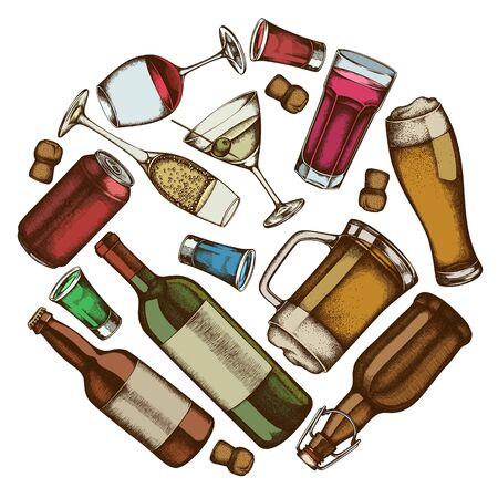 Round design with colored glass, champagne, mug of beer, alcohol shot, bottles of beer, bottle of wine, glass of champagne, glass of wine, glass of martini, aluminum can Stock Illustratie