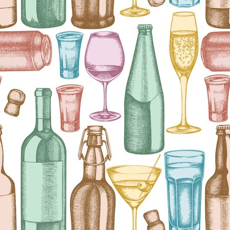 Seamless pattern with hand drawn pastel glass, champagne, mug of beer, alcohol shot, bottles of beer, bottle of wine, glass of champagne, glass of wine, glass of martini, aluminum can