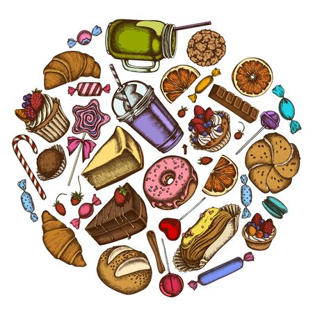 Round design with colored cinnamon, macaron, lollipop, bar, candies, oranges, buns and bread, croissants and bread, strawberry, milk boxes, smoothie cup, lollipop, smothie jars, cheesecake, eclair, cupcake, cake, donut, cookie, truffle, cake, tartlet