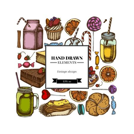 Square design with colored cinnamon, macaron, lollipop, bar, candies, oranges, buns and bread, croissants and bread, strawberry, milk boxes, smoothie cup, lollipop, smothie jars, cheesecake, eclair, cupcake, cake, donut, cookie, truffle, cake, tartlet Illustration