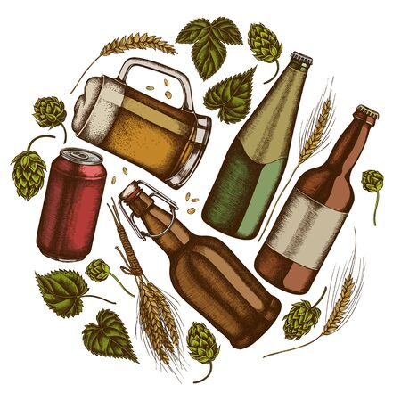 Round design with colored rye, hop, mug of beer, bottles of beer, aluminum can