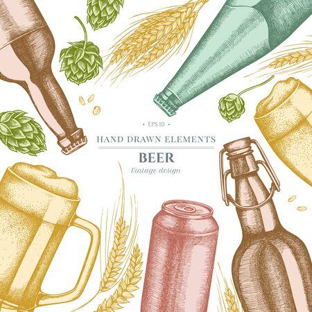 Design with pastel rye, hop, mug of beer, bottles of beer, aluminum can
