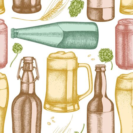 Seamless pattern with hand drawn pastel rye, hop, mug of beer, bottles of beer, aluminum can