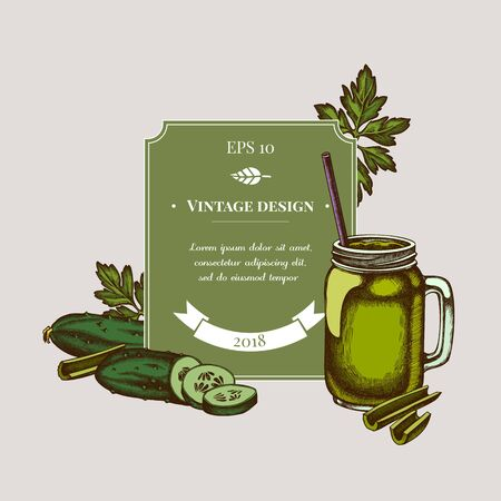Badge design with colored greenery, smothie jars, cucumber, celery stock illustration