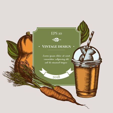 Badge design with colored carrot, basil, pumpkin, smoothie cup stock illustration 向量圖像