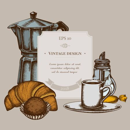 Badge design with colored candies, croissants and bread, espresso cup, coffee pot, sugar bowl, truffle stock illustration