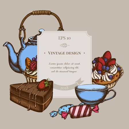 Badge design with colored candies, cupcake, teapots, cups, cake cake stock illustration