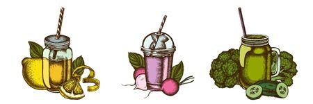 Smoothies set of colored lemons, broccoli, radish, basil, smoothie cup, smothie jars, cucumber stock illustration