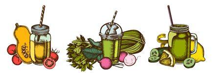 Smoothies set of colored lemons, radish, cherry tomatoes, pumpkin, smoothie cup, smothie jars, cucumber, celery stock illustration Illustration