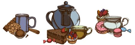 Sets of colored cinnamon, macaron, bar, candies, cupcake, teapots, cups, cake, donut, cookie, truffle, tartlet Stock Illustratie