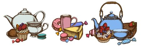 Sets of colored macaron, candies, cheesecake, cupcake, teapots, cups, cake, donut, truffle, cake