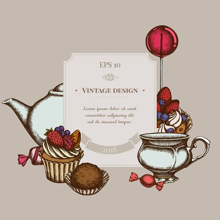 Badge design with colored lollipop, candies, cupcake, teapots, cups, truffle, cake, tartlet Vectores