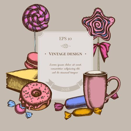 Badge design with colored macaron, lollipop, candies, lollipop, cheesecake, cups, donut Stock Illustratie