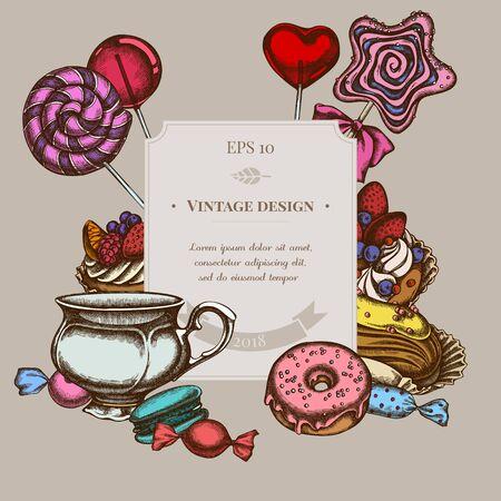 Badge design with colored macaron, lollipop, candies, lollipop, eclair, cupcake, cups, donut, cake