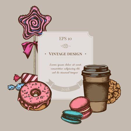 Badge design with colored macaron, candies, paper cup, lollipop, donut, cookie Stock Illustratie