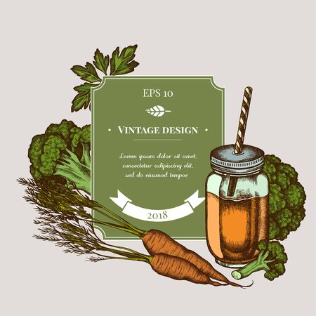 Badge design with colored broccoli, greenery, carrot, smothie jars Stock Illustratie