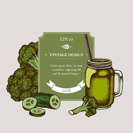 Badge design with colored broccoli, smothie jars, cucumber Stock Illustratie