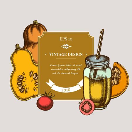 Badge design with colored cherry tomatoes, pumpkin, smothie jars