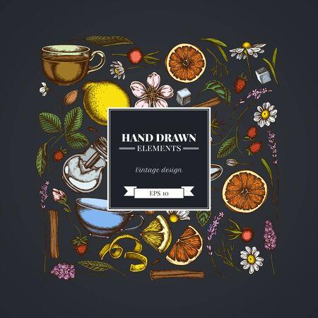 Square design on dark background with cinnamon, lemons, oranges, tea bag, sugar cubes, heather, chamomile, dog rose, peppermint, almond, strawberry, teaspoon, teapots, cups, sugar bowl Illustration