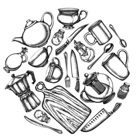 Round design with black and white Chef s knifes, teaspoon, spoon, fork, knife, cutting board, bottle of oil, teapots, coffee pot, cups, sugar bowl, pepper shaker, salt shaker
