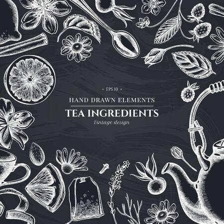 Design with chalk cinnamon, lemons, oranges, tea bag, sugar cubes, heather, chamomile, dog rose, peppermint, almond, strawberry, teaspoon, teapots, cups, sugar bowl