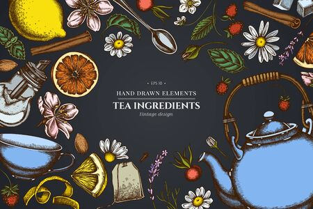 Floral design on dark background with cinnamon, lemons, oranges, tea bag, sugar cubes, heather, chamomile, dog rose, peppermint, almond, strawberry, teaspoon, teapots, cups, sugar bowl