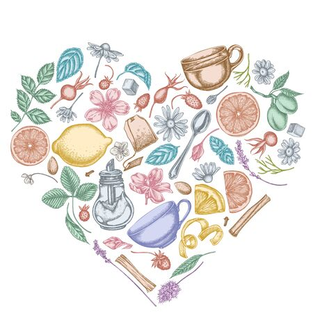 Heart design with pastel cinnamon, lemons, oranges, tea bag, sugar cubes, heather, chamomile, dog rose, peppermint, almond, strawberry, teaspoon, teapots, cups, sugar bowl