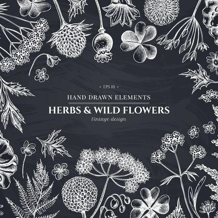 Design with chalk shepherds purse, heather, fern, wild garlic, clover, globethistle, gentiana, astilbe, craspedia, lagurus, black caraway, chamomile, dandelion, poppy flower, lily of the valley, valerian, angelica