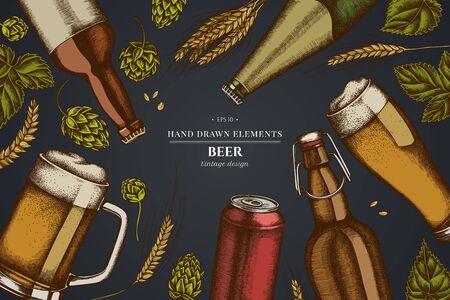 Design on dark background with rye, hop, mug of beer, bottles of beer, aluminum can Ilustracja