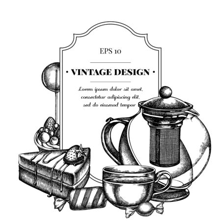 Badge design with black and white lollipop, candies, teapots, cups, cake, tartlet stock illustration