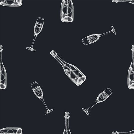 Seamless pattern with hand drawn chalk champagne, glass of champagne stock illustration