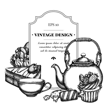 Badge design with black and white candies, cupcake, teapots, cups, cake, cake stock illustration Ilustracja