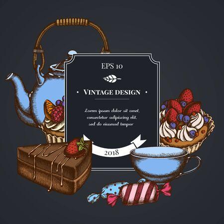 Dark badge design with candies, cupcake, teapots, cups, cake cake stock illustration