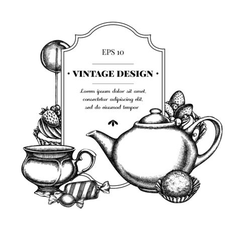 Badge design with black and white lollipop, candies, cupcake, teapots, cups, truffle, cake, tartlet Ilustracja