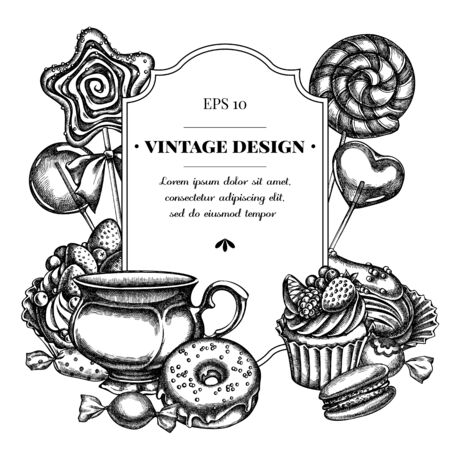 Badge design with black and white macaron, lollipop, candies, lollipop, eclair, cupcake, cups, donut, cake Ilustracja