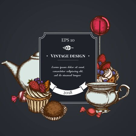 Dark badge design with lollipop, candies, cupcake, teapots, cups, truffle, cake, tartlet