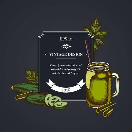 Dark badge design with greenery, smothie jars, cucumber, celery