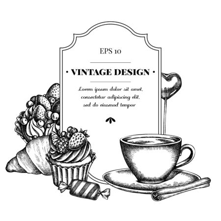 Badge design with black and white cinnamon, lollipop, candies, croissants and bread, coffee cups, cupcake, cake