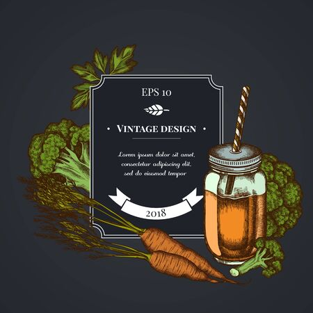 Dark badge design with broccoli, greenery, carrot, smothie jars