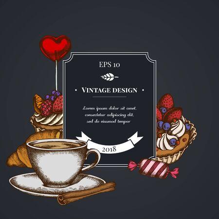 Dark badge design with cinnamon, lollipop, candies, croissants and bread, coffee cups, cupcake, cake Ilustracja