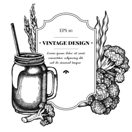 Badge design with black and white broccoli, green beans, smothie jars