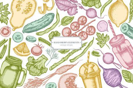 Design with pastel lemons, broccoli, radish, green beans, cherry tomatoes, beet, greenery, carrot, basil, pumpkin, smoothie cup, smothie jars, cucumber, celery Иллюстрация