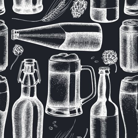 Seamless pattern with hand drawn chalk rye, hop, mug of beer, bottles of beer, aluminum can