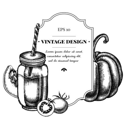 Badge design with black and white cherry tomatoes, pumpkin, smothie jars