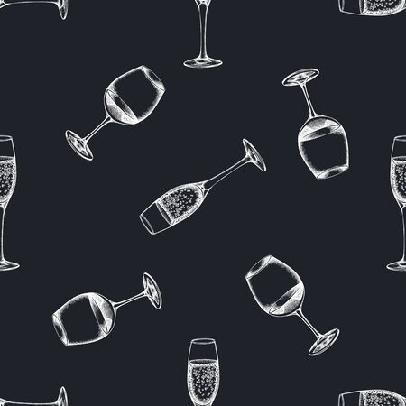 Seamless pattern with hand drawn chalk glass of champagne, glass of wine