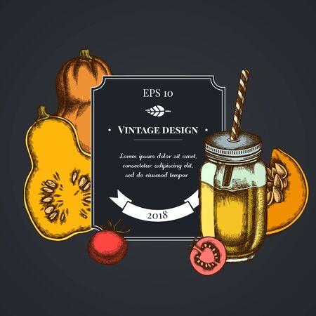 Dark badge design with cherry tomatoes, pumpkin, smothie jars