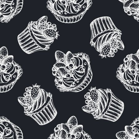 Seamless pattern with hand drawn chalk cupcake, cake stock illustration