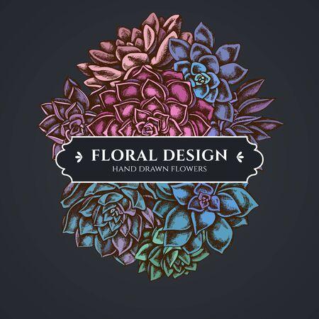 Floral bouquet dark design with succulent echeveria, succulent echeveria, succulent Stock Illustratie