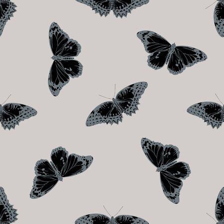 Seamless pattern with hand drawn stylized cethosia biblis, danaus chrysippus stock illustration